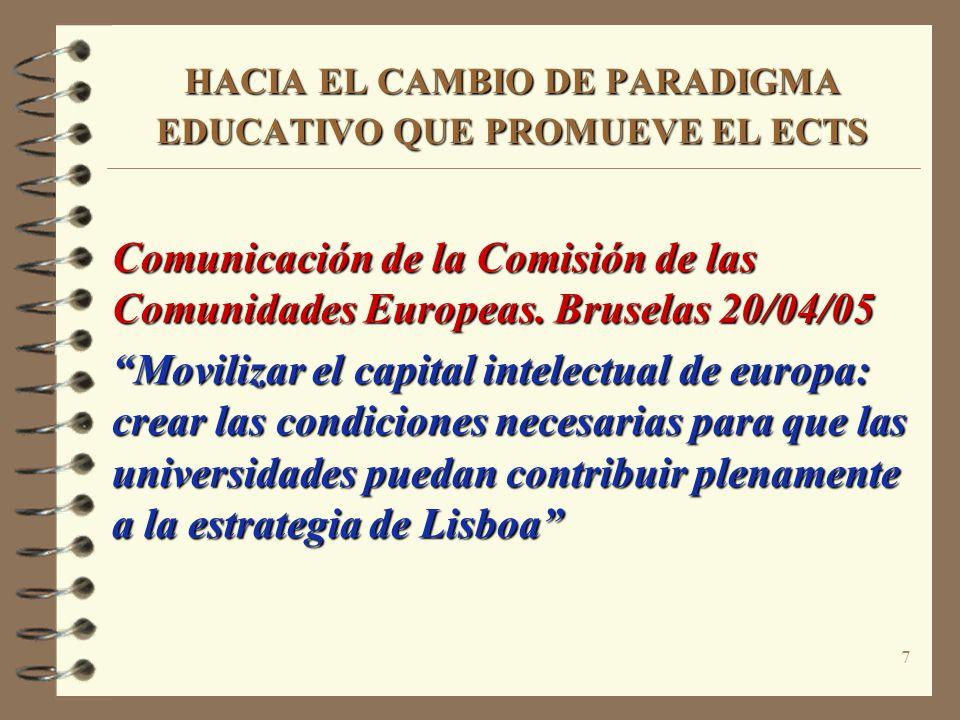 7 HACIA EL CAMBIO DE PARADIGMA EDUCATIVO QUE PROMUEVE EL ECTS Comunicación de la Comisión de las Comunidades Europeas. Bruselas 20/04/05 Movilizar el