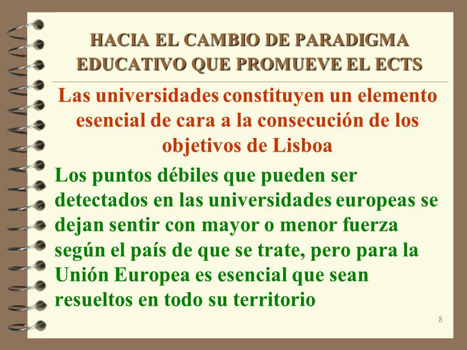 8 HACIA EL CAMBIO DE PARADIGMA EDUCATIVO QUE PROMUEVE EL ECTS Las universidades constituyen un elemento esencial de cara a la consecución de los objet