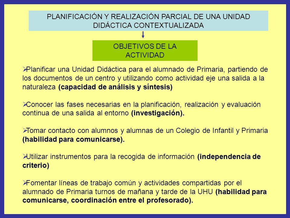 PLANIFICACIÓN Y REALIZACIÓN PARCIAL DE UNA UNIDAD DIDÁCTICA CONTEXTUALIZADA OBJETIVOS DE LA ACTIVIDAD (capacidad de análisis y síntesis) Planificar un