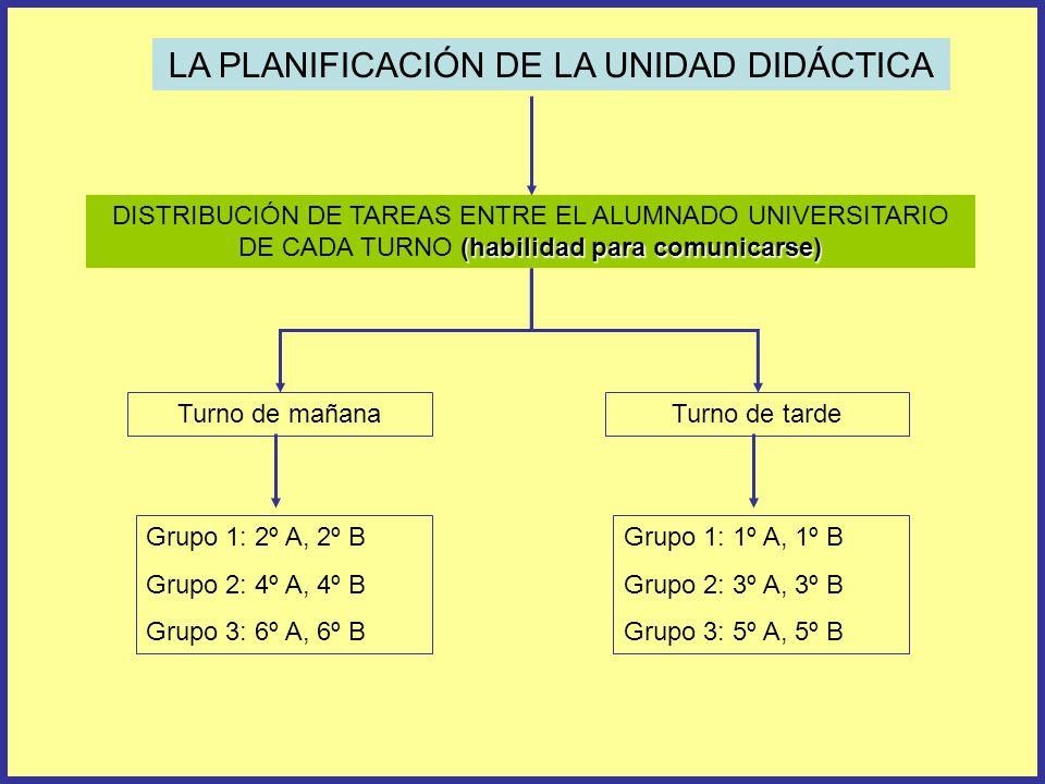 LA PLANIFICACIÓN DE LA UNIDAD DIDÁCTICA (habilidad para comunicarse) DISTRIBUCIÓN DE TAREAS ENTRE EL ALUMNADO UNIVERSITARIO DE CADA TURNO (habilidad para comunicarse) Turno de mañanaTurno de tarde Grupo 1: 2º A, 2º B Grupo 2: 4º A, 4º B Grupo 3: 6º A, 6º B Grupo 1: 1º A, 1º B Grupo 2: 3º A, 3º B Grupo 3: 5º A, 5º B