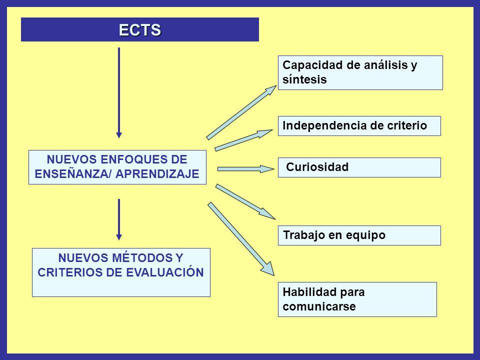NUEVOS ENFOQUES DE ENSEÑANZA/ APRENDIZAJE Capacidad de análisis y síntesis Independencia de criterio Curiosidad Trabajo en equipo Habilidad para comun