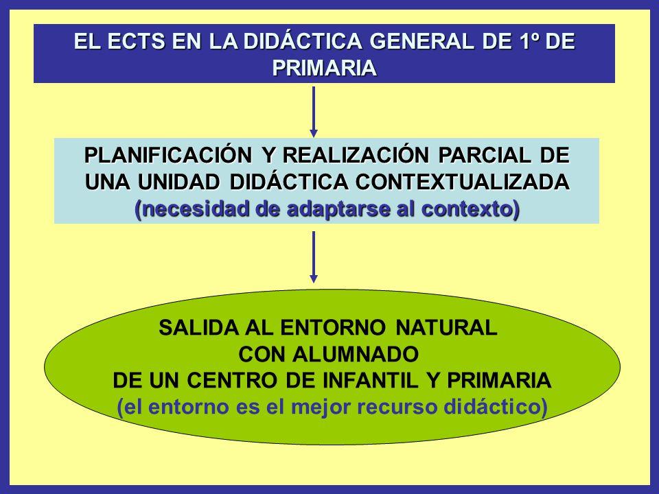 PLANIFICACIÓN Y REALIZACIÓN PARCIAL DE UNA UNIDAD DIDÁCTICA CONTEXTUALIZADA (necesidad de adaptarse al contexto) SALIDA AL ENTORNO NATURAL CON ALUMNADO DE UN CENTRO DE INFANTIL Y PRIMARIA (el entorno es el mejor recurso didáctico) EL ECTS EN LA DIDÁCTICA GENERAL DE 1º DE PRIMARIA