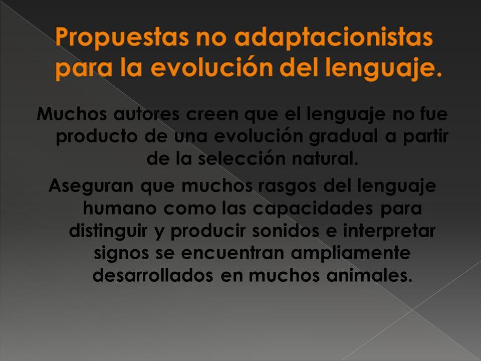 Muchos autores creen que el lenguaje no fue producto de una evolución gradual a partir de la selección natural.