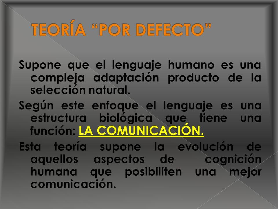 Supone que el lenguaje humano es una compleja adaptación producto de la selección natural.