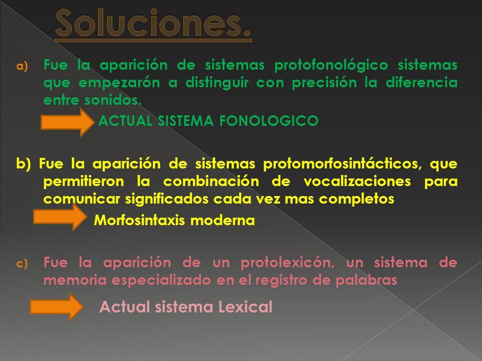 a) Fue la aparición de sistemas protofonológico sistemas que empezarón a distinguir con precisión la diferencia entre sonidos.