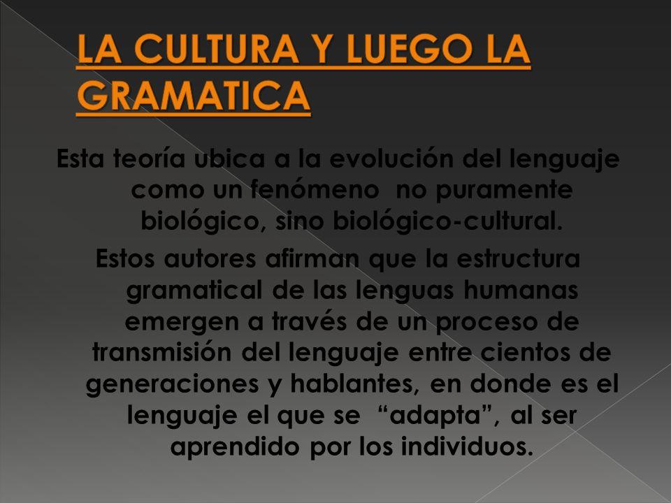 Esta teoría ubica a la evolución del lenguaje como un fenómeno no puramente biológico, sino biológico-cultural.