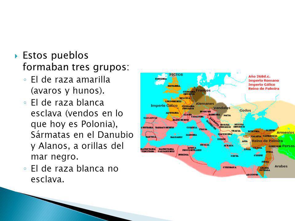 Estos pueblos formaban tres grupos: El de raza amarilla (avaros y hunos). El de raza blanca esclava (vendos en lo que hoy es Polonia), Sármatas en el