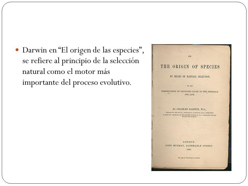 Darwin en El origen de las especies, se refiere al principio de la selección natural como el motor más importante del proceso evolutivo.