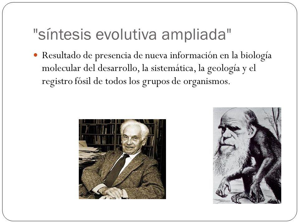 Resultado de presencia de nueva información en la biología molecular del desarrollo, la sistemática, la geología y el registro fósil de todos los grup