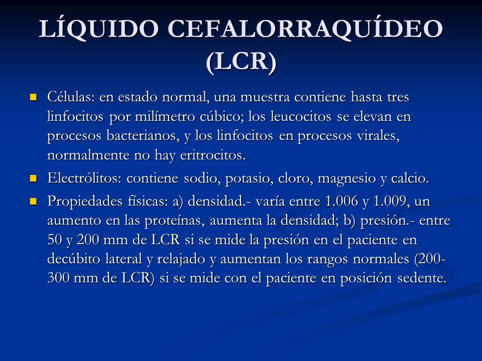 LÍQUIDO CEFALORRAQUÍDEO (LCR) Células: en estado normal, una muestra contiene hasta tres linfocitos por milímetro cúbico; los leucocitos se elevan en procesos bacterianos, y los linfocitos en procesos virales, normalmente no hay eritrocitos.