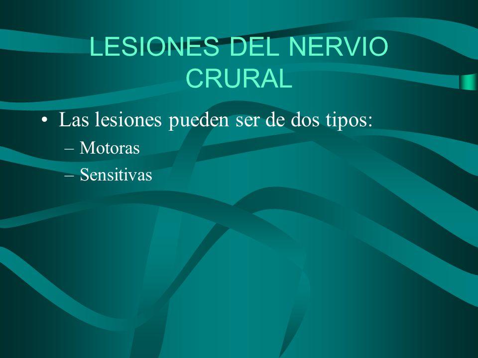 LESIONES DEL NERVIO CRURAL Las lesiones pueden ser de dos tipos: –Motoras –Sensitivas