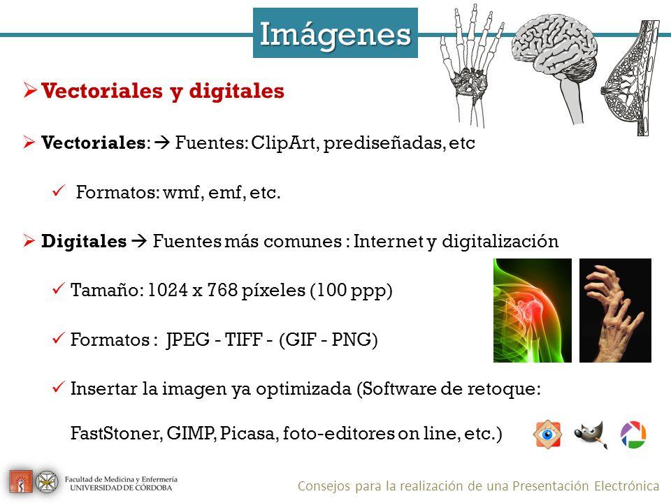 Imágenes Vectoriales y digitales Vectoriales: Fuentes: ClipArt, prediseñadas, etc Formatos: wmf, emf, etc.
