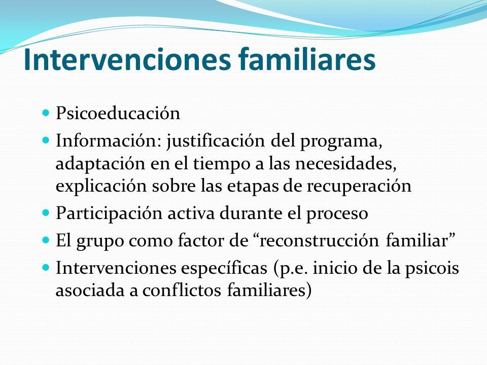 Intervenciones familiares Psicoeducación Información: justificación del programa, adaptación en el tiempo a las necesidades, explicación sobre las eta