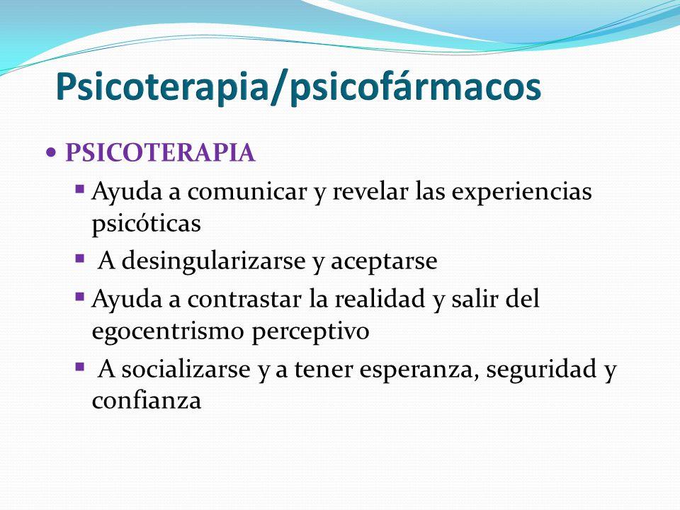PSICOTERAPIA Ayuda a comunicar y revelar las experiencias psicóticas A desingularizarse y aceptarse Ayuda a contrastar la realidad y salir del egocent