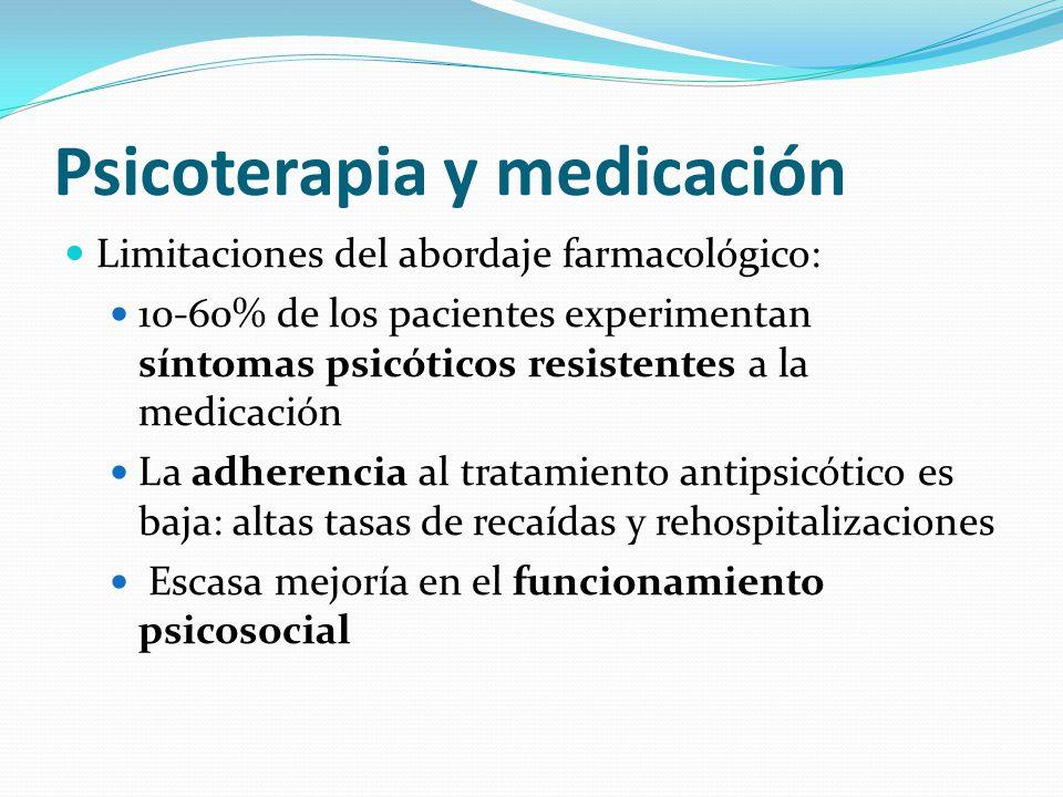 Psicoterapia y medicación Limitaciones del abordaje farmacológico: 10-60% de los pacientes experimentan síntomas psicóticos resistentes a la medicación La adherencia al tratamiento antipsicótico es baja: altas tasas de recaídas y rehospitalizaciones Escasa mejoría en el funcionamiento psicosocial