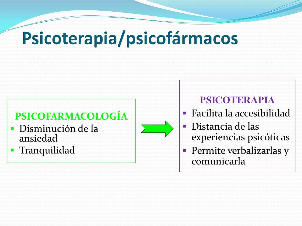 PSICOFARMACOLOGÍA Disminución de la ansiedad Tranquilidad PSICOTERAPIA Facilita la accesibilidad Distancia de las experiencias psicóticas Permite verb