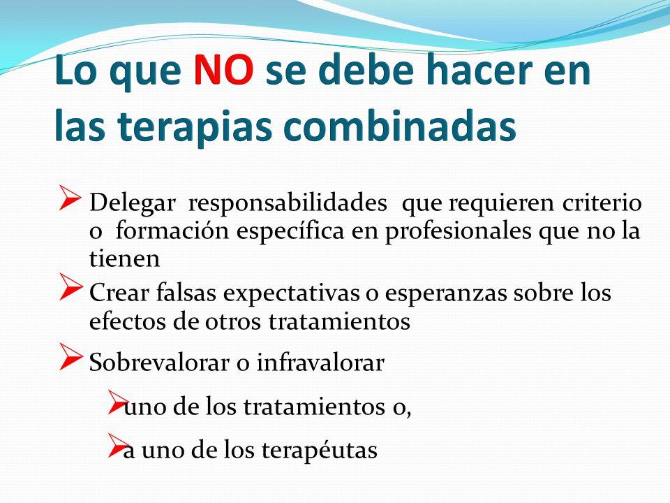 Delegar responsabilidades que requieren criterio o formación específica en profesionales que no la tienen Crear falsas expectativas o esperanzas sobre los efectos de otros tratamientos Sobrevalorar o infravalorar uno de los tratamientos o, a uno de los terapéutas