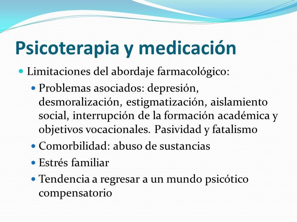 Psicoterapia y medicación Limitaciones del abordaje farmacológico: Problemas asociados: depresión, desmoralización, estigmatización, aislamiento socia