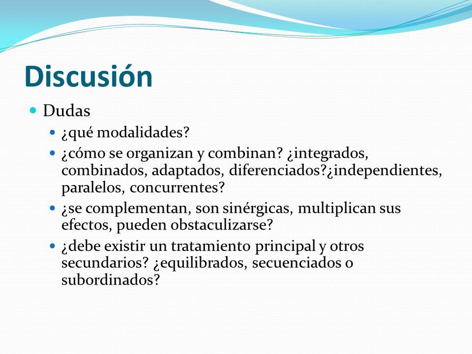 Discusión Dudas ¿qué modalidades? ¿cómo se organizan y combinan? ¿integrados, combinados, adaptados, diferenciados?¿independientes, paralelos, concurr