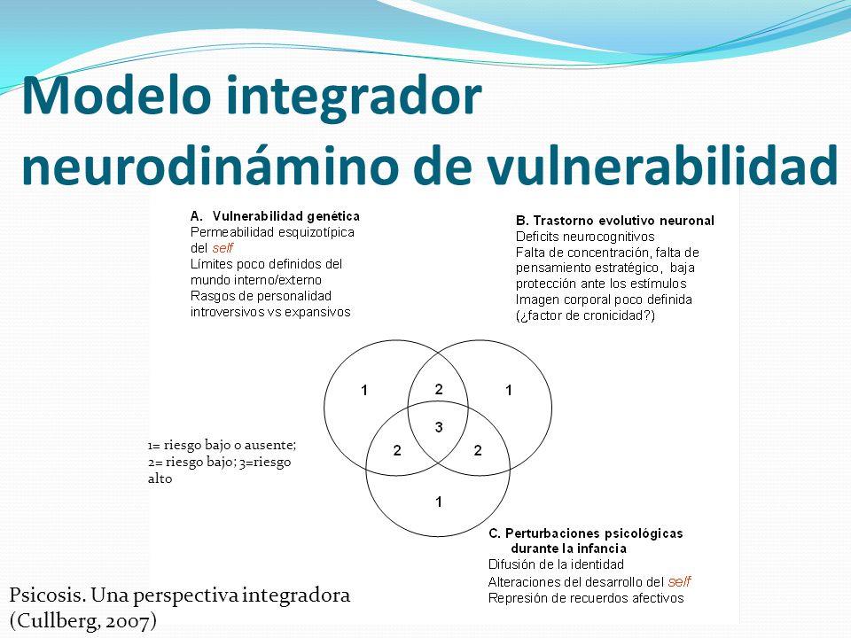 Modelo integrador neurodinámino de vulnerabilidad 1= riesgo bajo o ausente; 2= riesgo bajo; 3=riesgo alto Psicosis. Una perspectiva integradora (Cullb