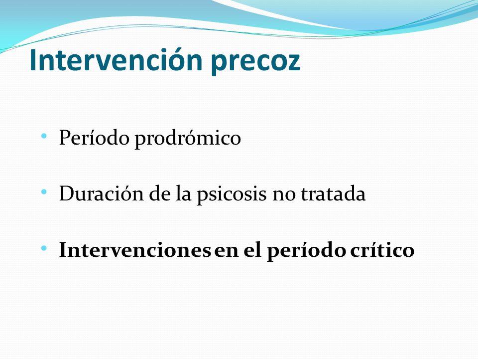 Período prodrómico Duración de la psicosis no tratada Intervenciones en el período crítico Intervención precoz