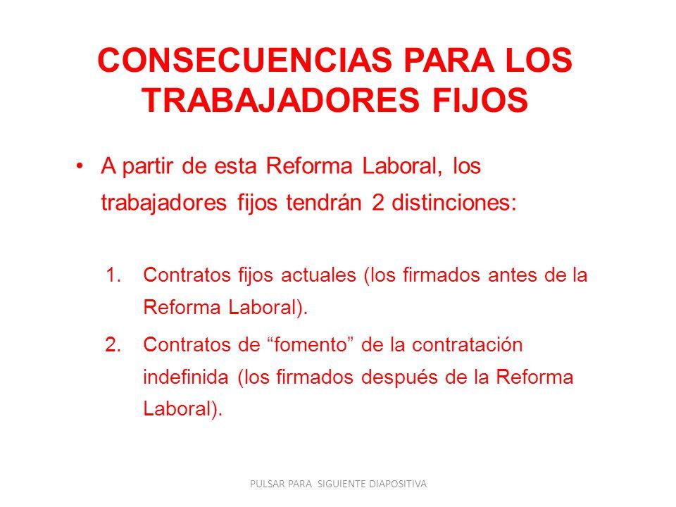 CONSECUENCIAS PARA LOS TRABAJADORES FIJOS A partir de esta Reforma Laboral, los trabajadores fijos tendrán 2 distinciones: 1.Contratos fijos actuales