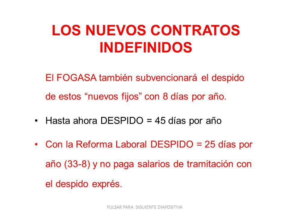 LOS NUEVOS CONTRATOS INDEFINIDOS El FOGASA también subvencionará el despido de estos nuevos fijos con 8 días por año. Hasta ahora DESPIDO = 45 días po