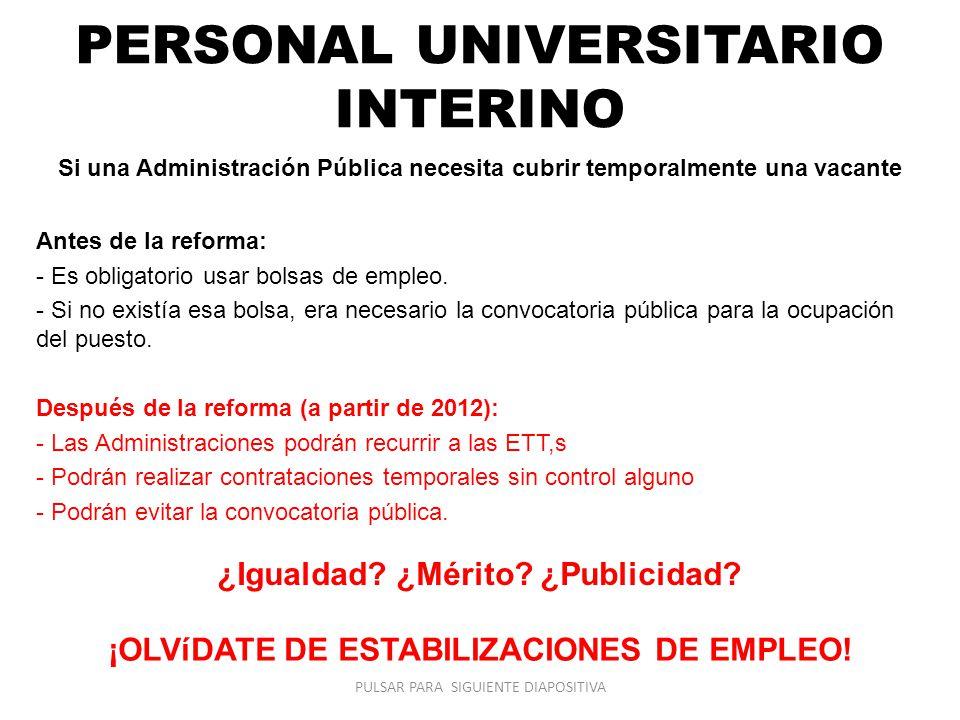 PERSONAL UNIVERSITARIO INTERINO Si una Administración Pública necesita cubrir temporalmente una vacante Antes de la reforma: - Es obligatorio usar bol