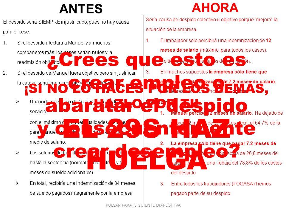 ANTES El despido sería SIEMPRE injustificado, pues no hay causa para el cese.