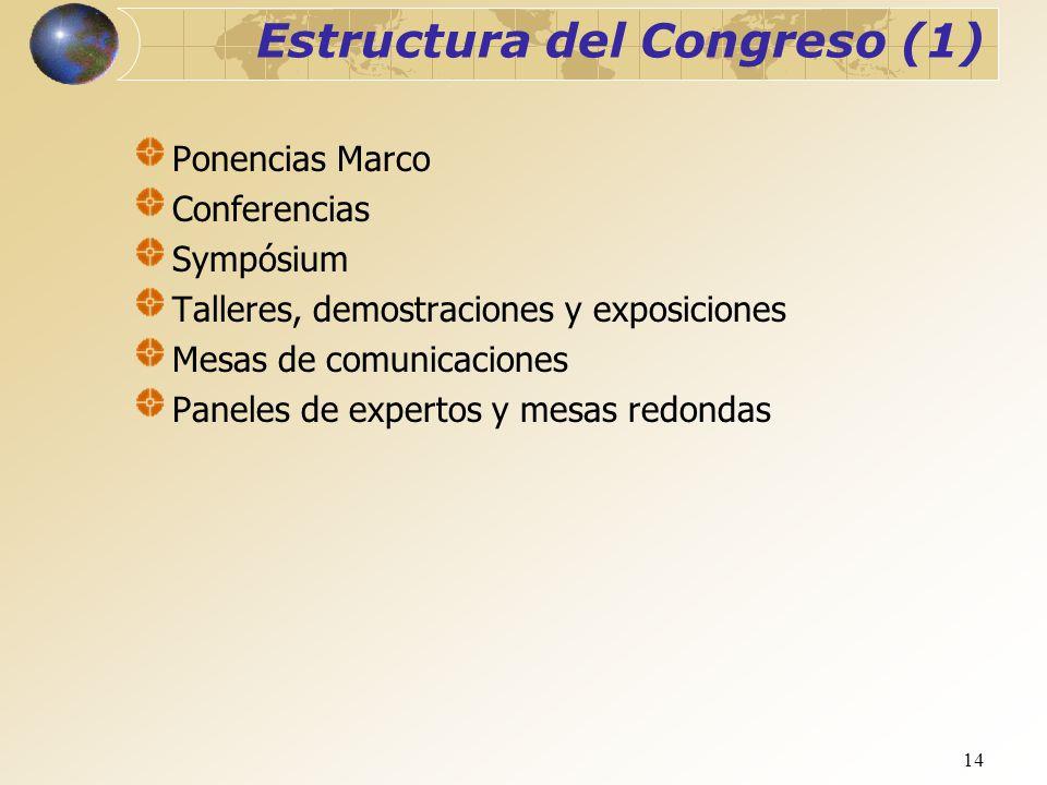 14 Estructura del Congreso (1) Ponencias Marco Conferencias Sympósium Talleres, demostraciones y exposiciones Mesas de comunicaciones Paneles de exper