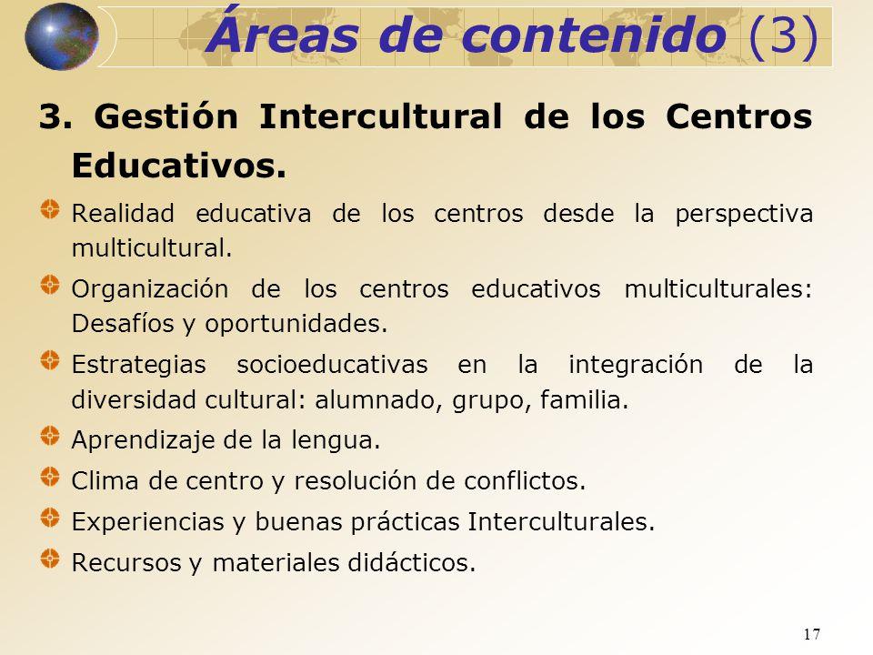 17 Áreas de contenido (3) 3. Gestión Intercultural de los Centros Educativos. Realidad educativa de los centros desde la perspectiva multicultural. Or