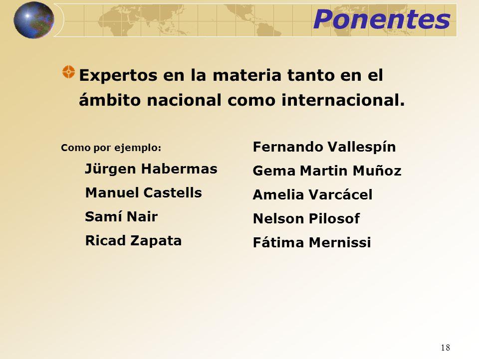 18 Ponentes Expertos en la materia tanto en el ámbito nacional como internacional. Fernando Vallespín Gema Martin Muñoz Amelia Varcácel Nelson Pilosof