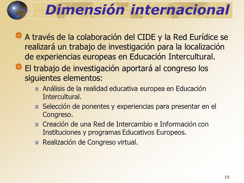 19 Dimensión internacional A través de la colaboración del CIDE y la Red Eurídice se realizará un trabajo de investigación para la localización de exp