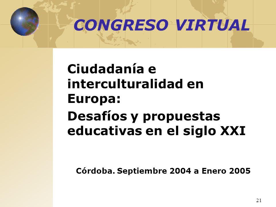 21 CONGRESO VIRTUAL Ciudadanía e interculturalidad en Europa: Desafíos y propuestas educativas en el siglo XXI Córdoba. Septiembre 2004 a Enero 2005