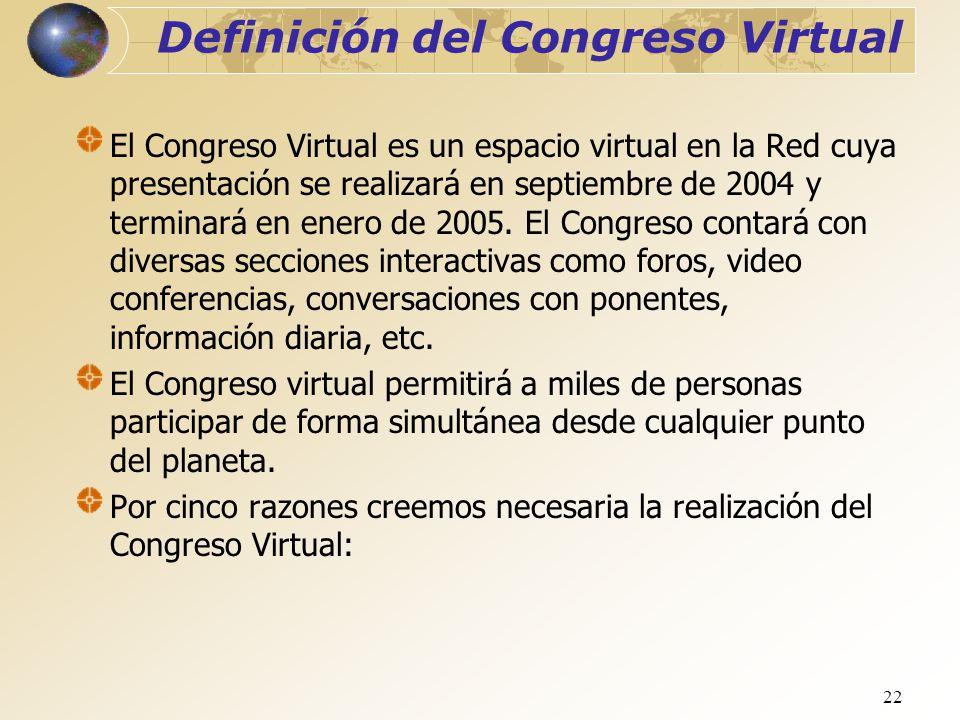 22 Definición del Congreso Virtual El Congreso Virtual es un espacio virtual en la Red cuya presentación se realizará en septiembre de 2004 y terminar