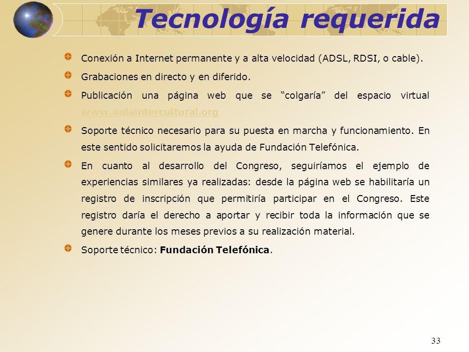 33 Tecnología requerida Conexión a Internet permanente y a alta velocidad (ADSL, RDSI, o cable). Grabaciones en directo y en diferido. Publicación una