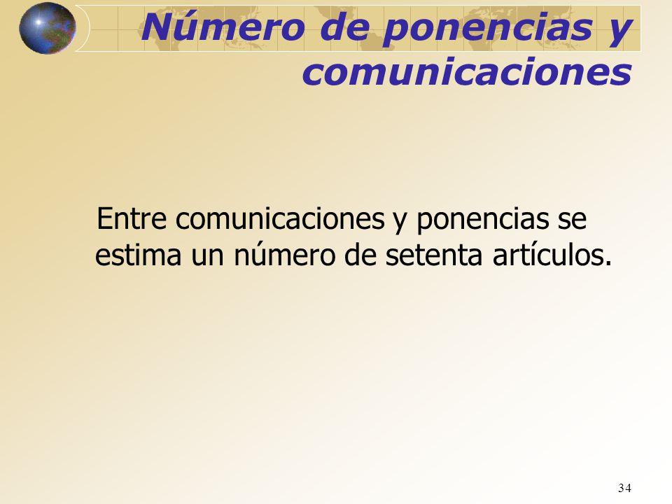 34 Número de ponencias y comunicaciones Entre comunicaciones y ponencias se estima un número de setenta artículos.