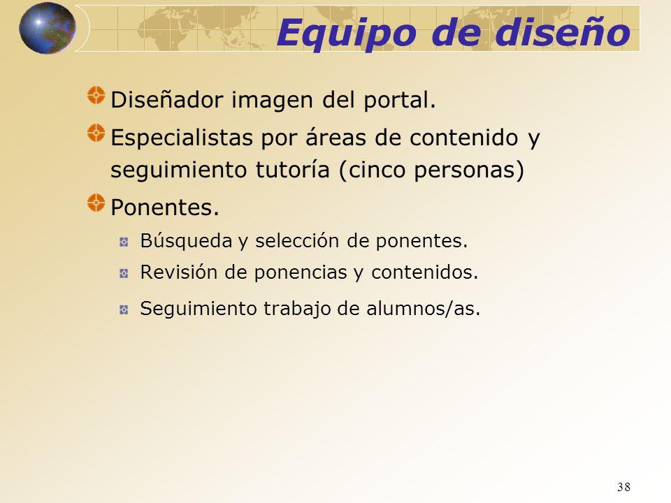 38 Diseñador imagen del portal. Especialistas por áreas de contenido y seguimiento tutoría (cinco personas) Ponentes. Búsqueda y selección de ponentes