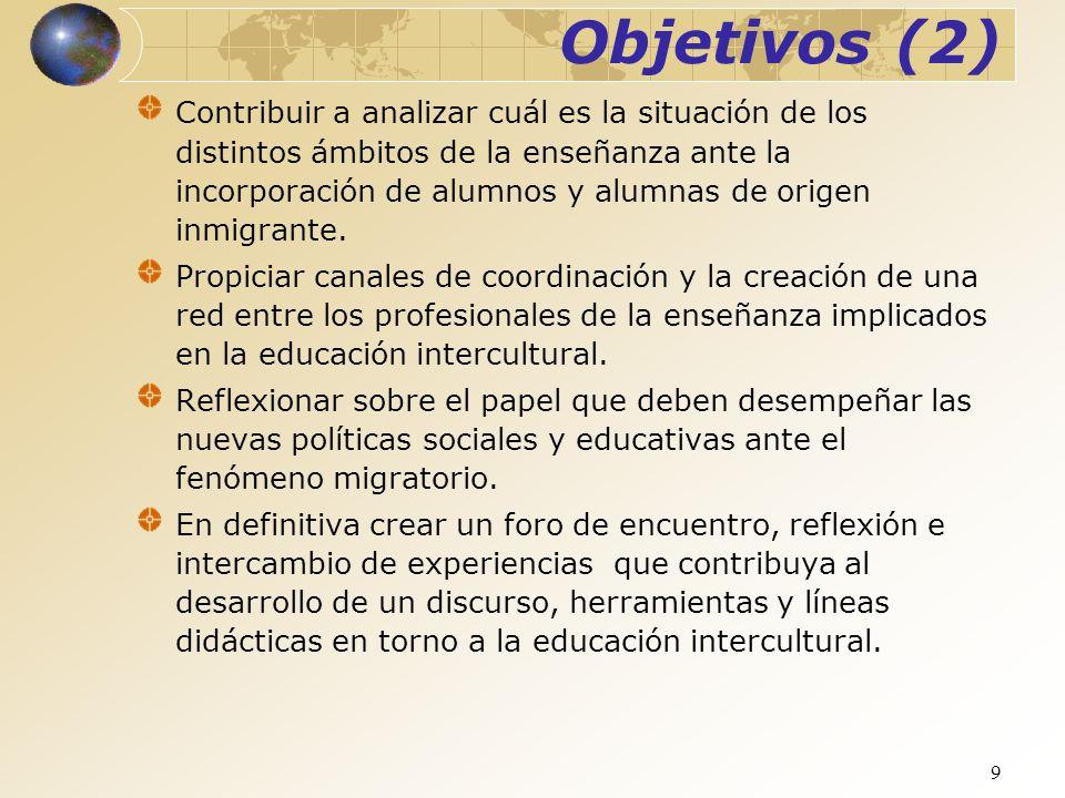 9 Objetivos (2) Contribuir a analizar cuál es la situación de los distintos ámbitos de la enseñanza ante la incorporación de alumnos y alumnas de orig