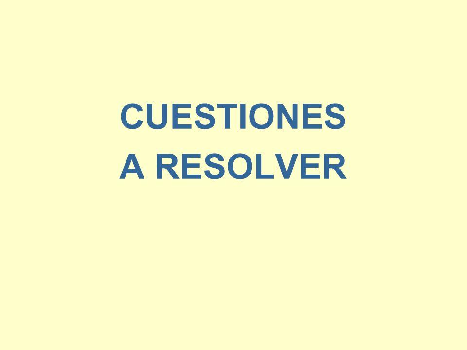CUESTIONES A RESOLVER