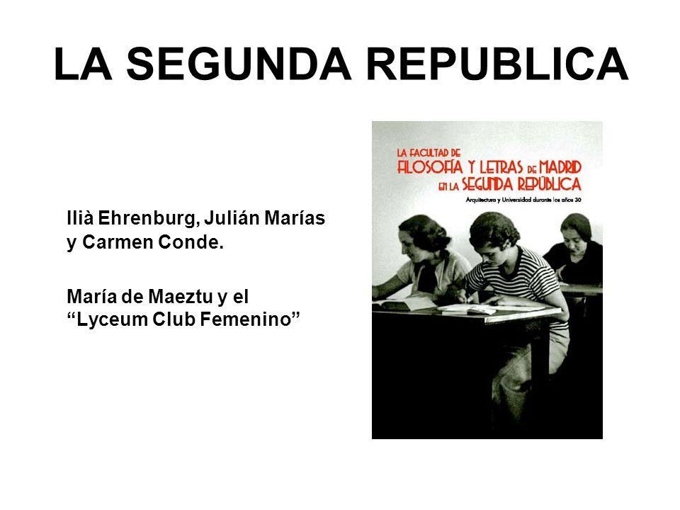 LA SEGUNDA REPUBLICA Ilià Ehrenburg, Julián Marías y Carmen Conde. María de Maeztu y el Lyceum Club Femenino