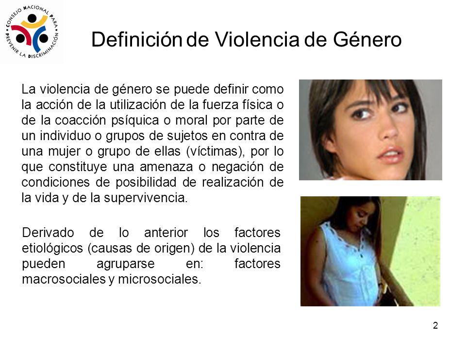 2 La violencia de género se puede definir como la acción de la utilización de la fuerza física o de la coacción psíquica o moral por parte de un individuo o grupos de sujetos en contra de una mujer o grupo de ellas (víctimas), por lo que constituye una amenaza o negación de condiciones de posibilidad de realización de la vida y de la supervivencia.