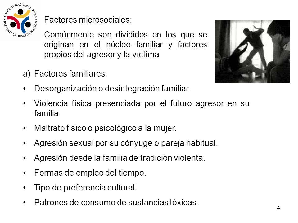 4 Factores microsociales: Comúnmente son divididos en los que se originan en el núcleo familiar y factores propios del agresor y la víctima. a)Factore