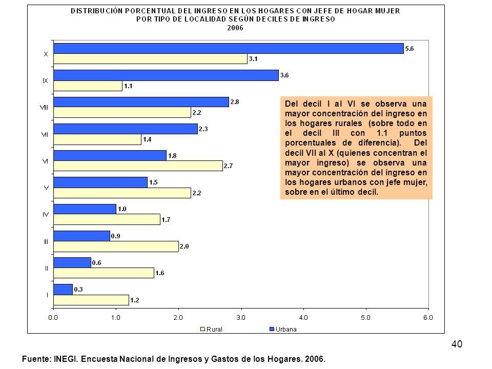40 Fuente: INEGI. Encuesta Nacional de Ingresos y Gastos de los Hogares. 2006. Del decil I al VI se observa una mayor concentración del ingreso en los