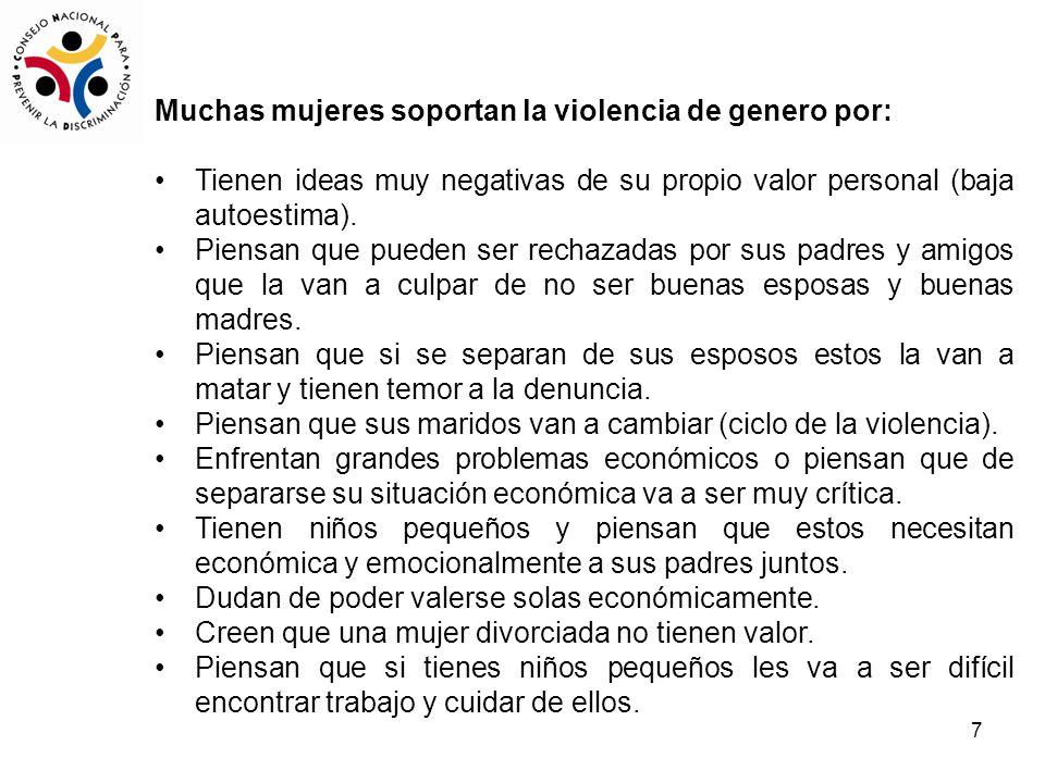 7 Muchas mujeres soportan la violencia de genero por: Tienen ideas muy negativas de su propio valor personal (baja autoestima).
