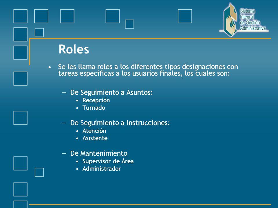 Roles Se les llama roles a los diferentes tipos designaciones con tareas especificas a los usuarios finales, los cuales son: De Seguimiento a Asuntos: