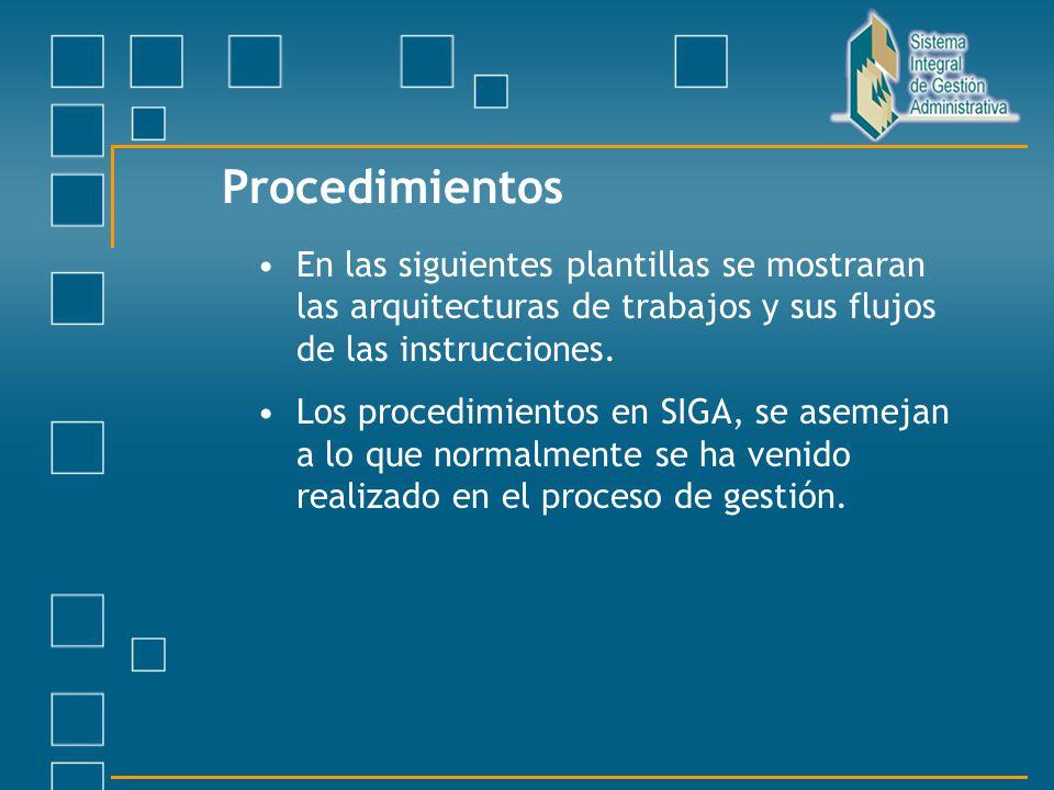 Procedimientos En las siguientes plantillas se mostraran las arquitecturas de trabajos y sus flujos de las instrucciones. Los procedimientos en SIGA,