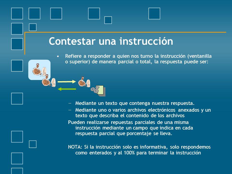 Contestar una instrucción Refiere a responder a quien nos turno la instrucción (ventanilla o superior) de manera parcial o total, la respuesta puede s