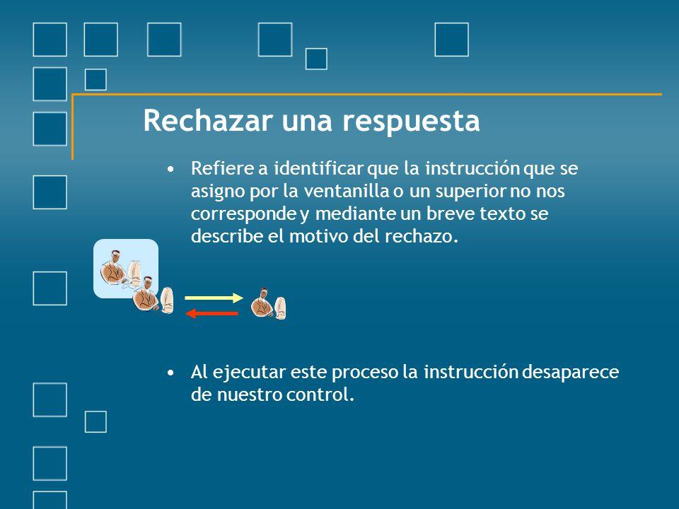 Rechazar una respuesta Refiere a identificar que la instrucción que se asigno por la ventanilla o un superior no nos corresponde y mediante un breve t