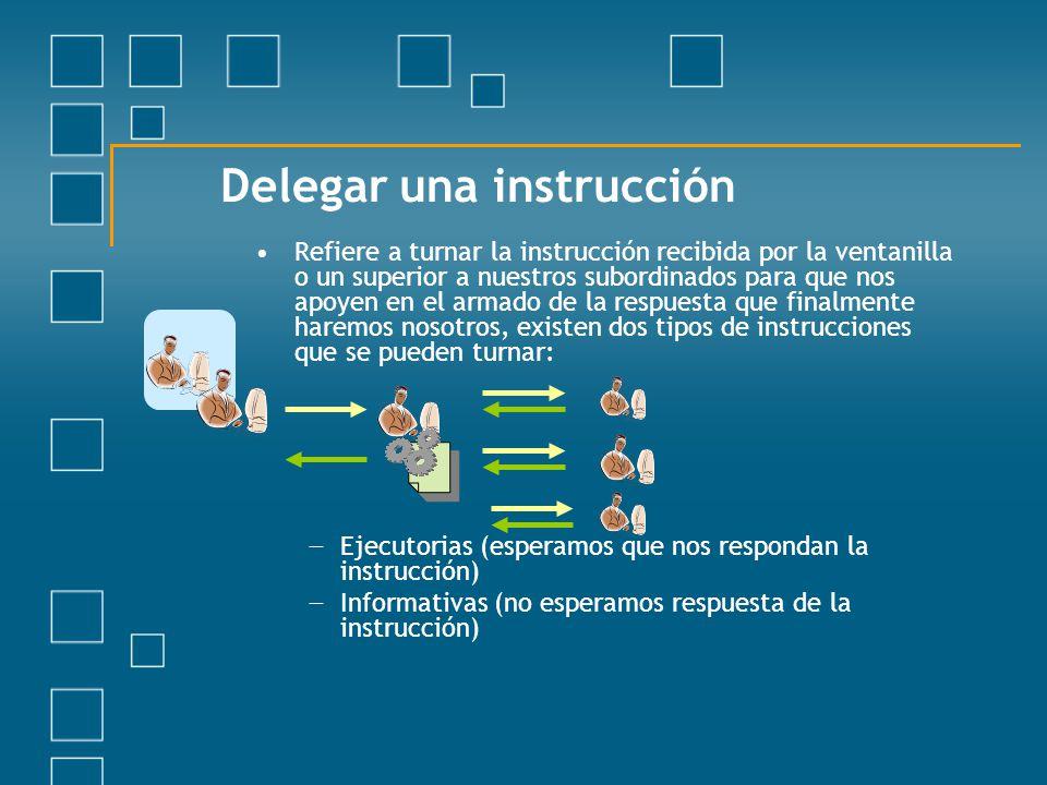 Delegar una instrucción Refiere a turnar la instrucción recibida por la ventanilla o un superior a nuestros subordinados para que nos apoyen en el arm